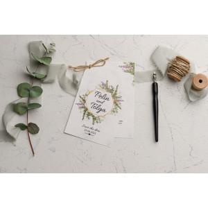 Invitatie de nunta cu frunze si flori 9186 EKONOM