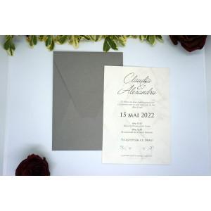 Invitatie de nunta cu model marmura 9194 EKONOM