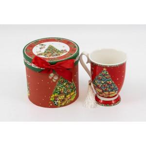 Cana ceramica in cutie cadou decor brad Craciun