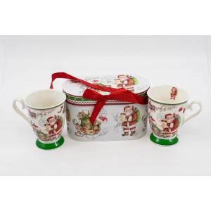Cana Ceramica In Cutie Cadou 2/Set Decor Mos Craciun Ursulet CAN017