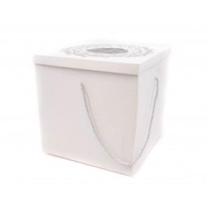 Cutie cadou pentru trusou alba cu argintiu CTC023