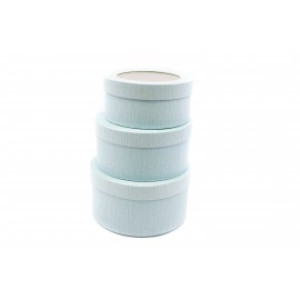 Cutie Carton Bleu Rotunda cu Dunga Aurie la Geam 3/Set CTC137