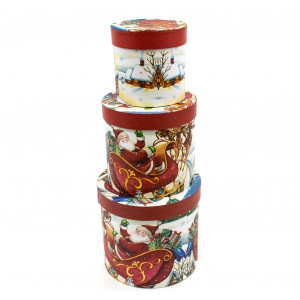 Cutie Carton Rotunda Mos Craciun Pe Sanie 3/Set CTC148
