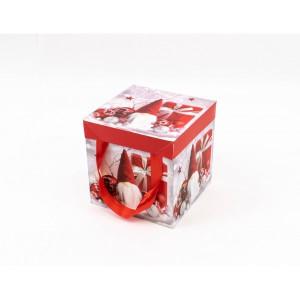 Cutie Carton Patrata Rosu-Gri Mos, Glob CTC158