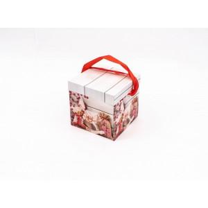 Cutie Carton Patrata Rosu-Gri Mos, Sac CTC160