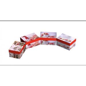 Cutie Carton Dreptunghiulara Rosu Craciun12/Set CTC163