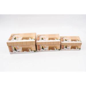 Cutie Carton Dreptunghiulara Bej Craciun 3/Set CTC179