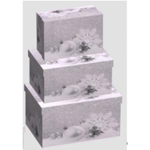 Cutie Carton Dreptunghiulara Argintie Craciun 3/Set CTC180