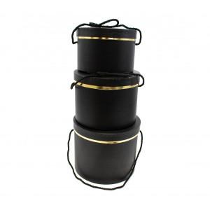 Cutie Carton Neagra Rotunda cu Dunga Aurie 3/Set CTC129