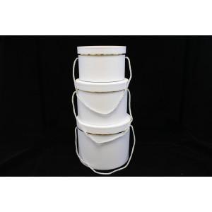 Cutie Carton Alba Rotunda cu Dunga Aurie 3/Set CTC130