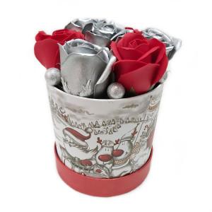 Aranjament Cadou Craciun cu Flori Parfumate de Sapun DEC152