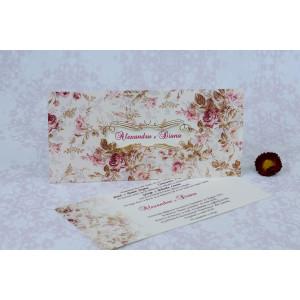 Invitatie de nunta florala mov si crem 22167 Polen