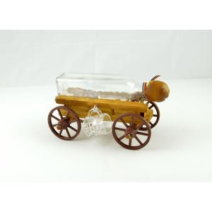 Suport din lemn pentru sticla si pahare Caruta ES3386