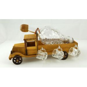 Suport din lemn pentru sticla si pahare Camion ES3491