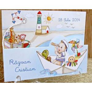 Invitatie de botez cu bebe marinar 15308 DELUXE