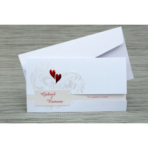 Invitatie de nunta alba cu inimioare rosii 1123 Polen