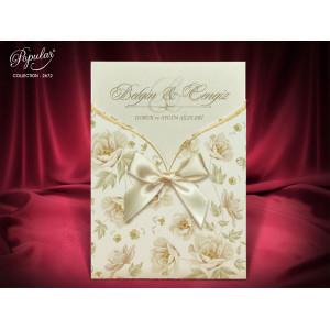 Invitatie de nunta florala cu fundita 2672