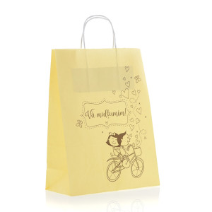 Punga nunta crem model haios miri pe bicicleta cu maner de hartie rasucit PN 11001