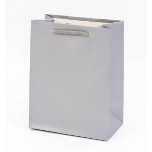 Punga cadouri cartonata 32x26x12 cm argintie PNG057