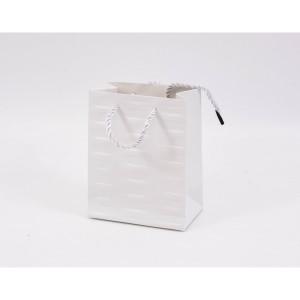 Punga cadouri cartonata 15x12x7 cm cu dungi alba PNG082