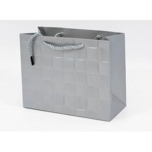 Punga Cadouri Cartonata 26x32x12 cm Patratele Argintie PNG102