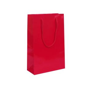 Punga cadouri plastifiata B medie rosie