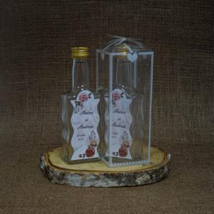 Sticla Marturii 200 ml Stof 3 Pachet Cadou Bujori