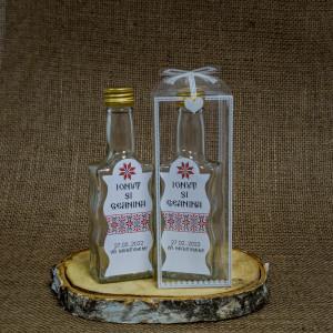 Sticla Marturii 200 ml Stof 3 Pachet Cadou Traditional
