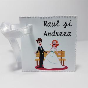 Eticheta - Card dublu perforat alb 35
