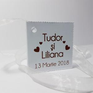 Eticheta - Card dublu perforat alb 59