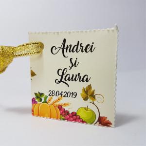 Eticheta - Card dublu perforat crem 69