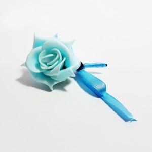 Cocarda cu trandafiri artificiali 01 albastru deschis