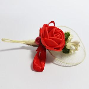 Cocarda cu trandafiri artificiali 03 rosu