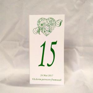M15 Alb/Crem - Meniu cu inimioara florala