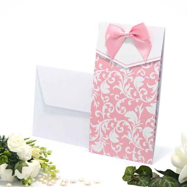 Invitatie de nunta roz cu fundita 115423 TBZ