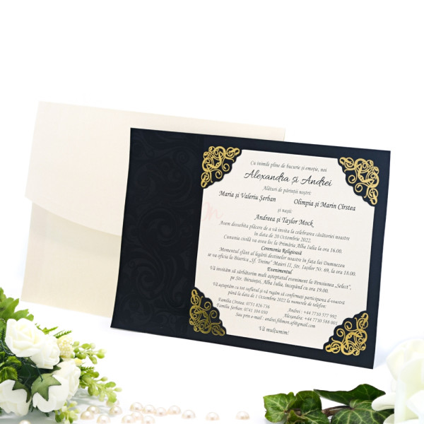 Invitatie de nunta eleganta cu insertii florale negru si auriu 2122 TBZ