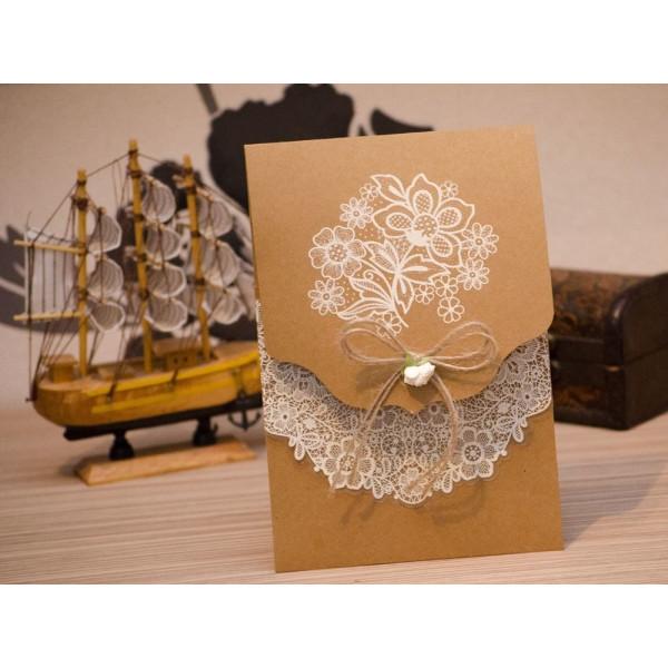 Invitatie de nunta vintage cu broderie florala 4014