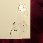 Invitatie de nunta crem cu floricele 116083 TBZ