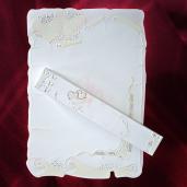 Invitatie de nunta papirus cu floricele si inimioare roz 119007 TBZ