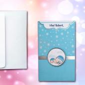 Invitatie de botez albastra cu bebe si stelute 103 LARA BABY