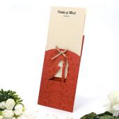 Invitatie de nunta florala visiniu cu fundita crem 115424 TBZ