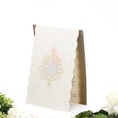 Invitatie de nunta florala crem si maro 125002 TBZ