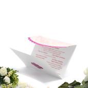 Invitatie de nunta cu inimioare ciclame si fundita 140007 TBZ