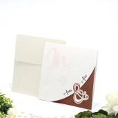 Invitatie de nunta florala crem si maro 160008 TBZ