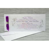 Invitatie de nunta alba sidefata cu motive florale argintii 35291 Polen