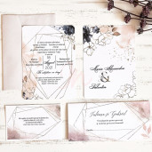 Invitatie de nunta chic cu flori 39787 ECONOMIQ