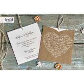 Invitatie de nunta vintage cu inimioara 70136 KRISTAL