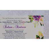 Invitatie de nunta crem cu model floral 22120 Polen