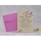 Invitatie de nunta cu turturele si flori 22244 Polen