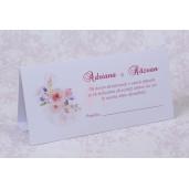 Plic pentru bani alb cu flori roz 222514 POLEN